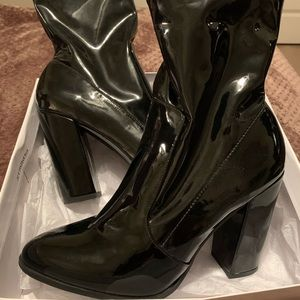 Latex Black Ankle Boots